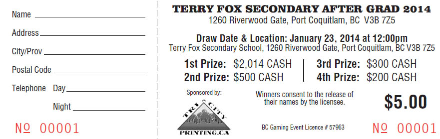 Terry Fox Secondary School, draw ticket