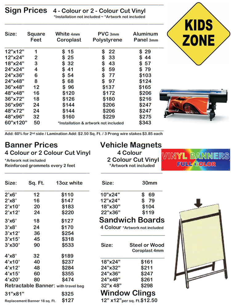 Signs, banners prices