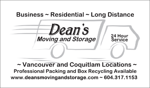 Deans moving and storage business card