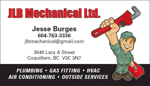 JLB Mechanical Ltd. - business card - PLUMBING • GAS FITTING • HVAC