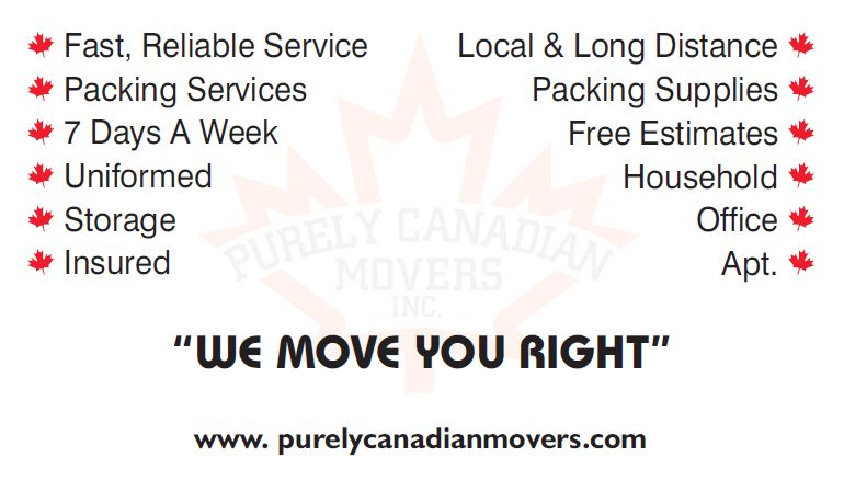 purely canadian movers business card