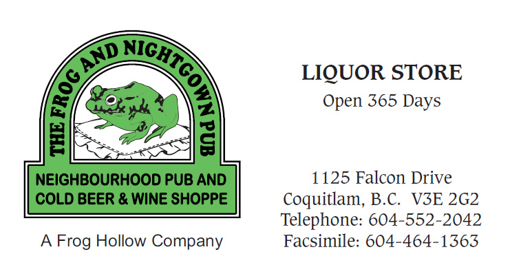 Frog and Nightgown Pub (Coquitlam), Liquor Store card