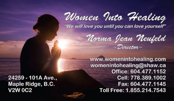 Women into Healing, business card
