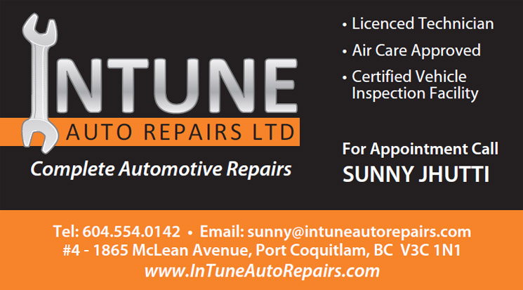 Intune Auto Repairs business card