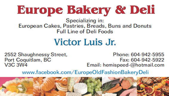 Europe Bakery & Deli business card