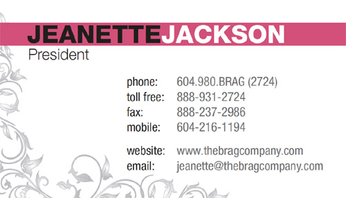Brag company business card back