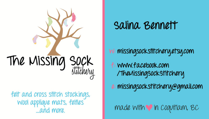 Missing Sock Stitchery business card front