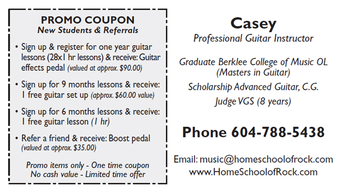 The Home School of Rock - business card back side