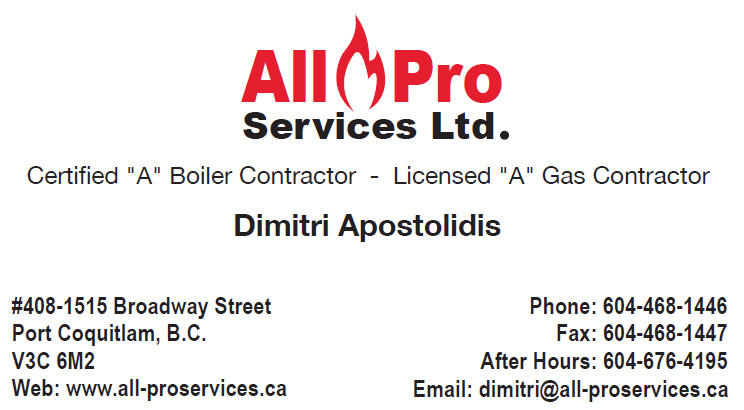 All Pro Services business card front