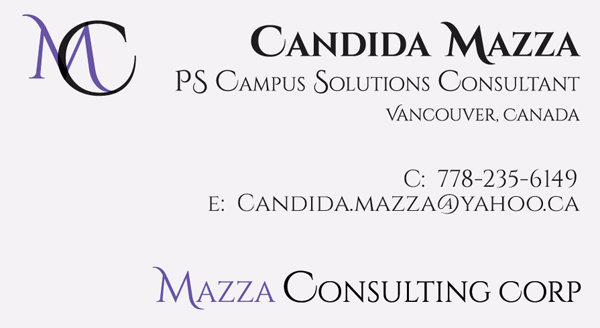 Mazza Consulting Corp. business card front