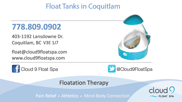 cloud 9 float spa business card front