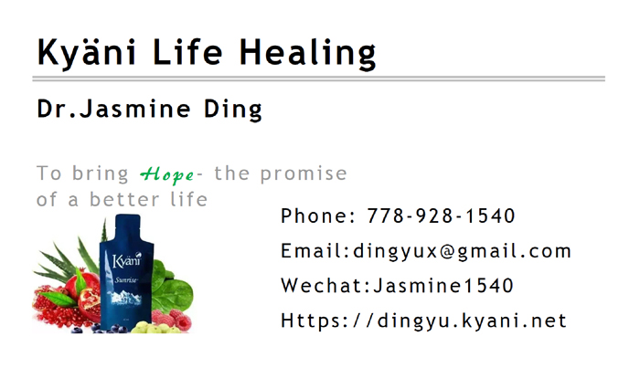 Kyäni Life Healing business card front