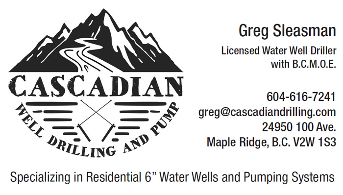 CASCADIAN Well Drilling and Pump business card