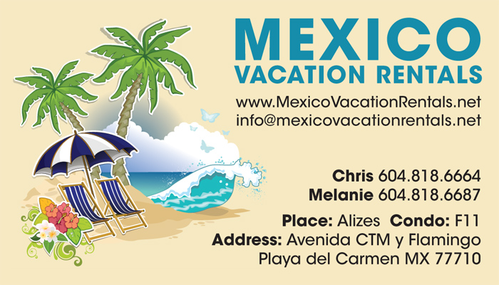 mexico vacation rentals business card