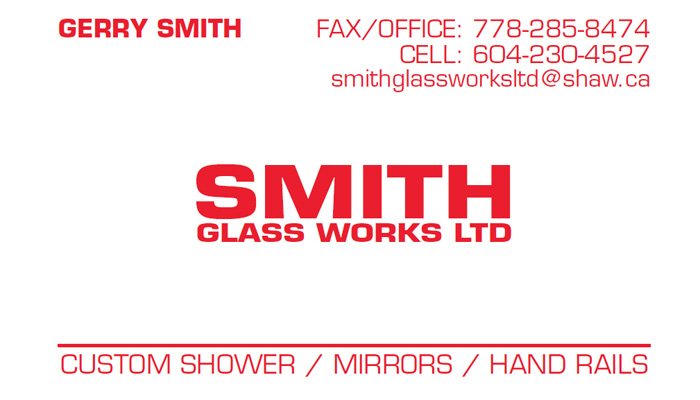 Smith Glass Works Ltd. business card