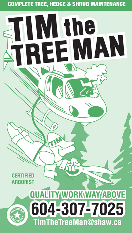Tim The Tree Man arbortrist business card