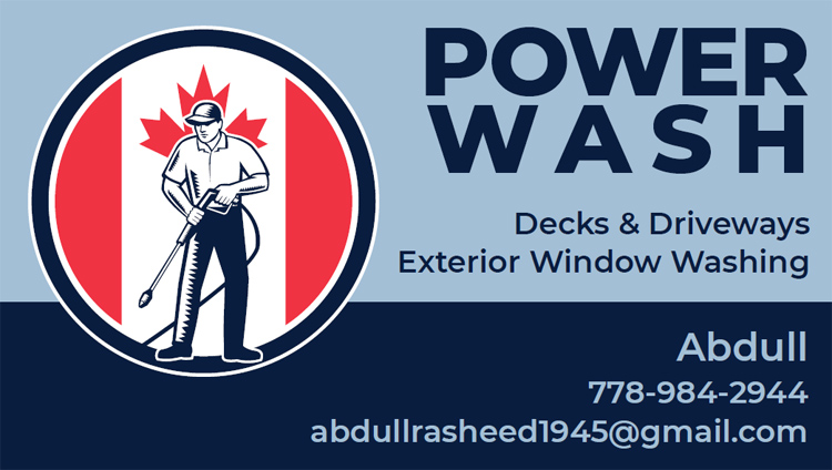 Adbul (Power Wash) business card