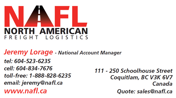 Jeremy Lorage (NAFL - North America Freight Logistic) business card